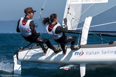 europeo nacra 17 bissaro sicouri in acqua per la medal race