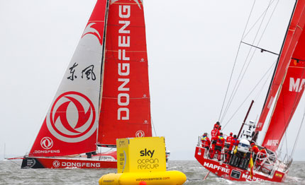 volvo ocean race dongfeng vince la in port race di cardiff